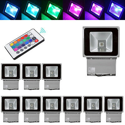 10X 100W RGB LED Flood light 16Color Change Outdoor Garden light with IR Remote
