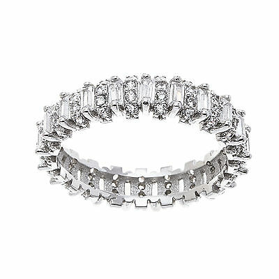 18K White Gold Sterling Silver Baguette Cubic Zirconia Eternity Band Ring Size 6