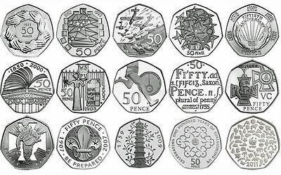 +UK 50p PROOF ENGLISH DECIMAL FIFTY PENCE COINS CHOICE OF DATE 1971-2015