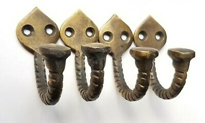 "6 Solid Brass Single Coat Hat Towel Hooks  Antique Twisted Rope 2 1/4"" #C6"