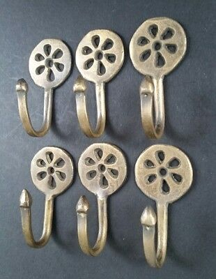 "6 Brass Antique Style Small Single Coat Hooks Floral Daisy Ornate 2 3/8""  #C5"