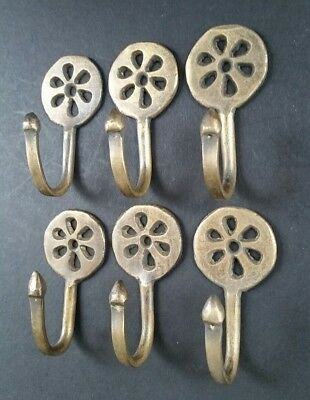 "6 Brass Antique Style Small Single Coat Hooks Floral Daisy Ornate 2-3/8""l. #C5"