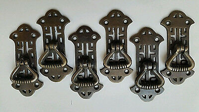"6 Chinese Chippendale style Ornate Brass pendant Handle drawer pulls 2 7/8"" #H20"