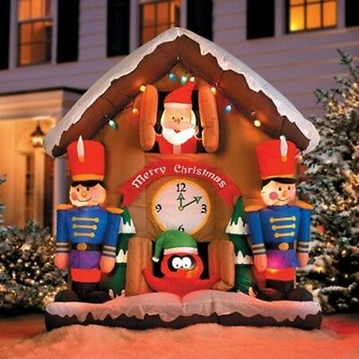6.5' Animated Santa Clock Airblown Lighted Inflatable Christmas Decoration Gemmy