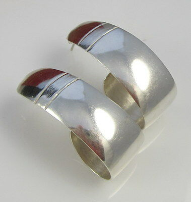 Estate Vintage Stunning HUGE Sterling Silver Wide 18.1 Gram Pierced Earrings