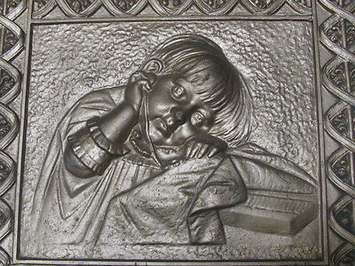 Antique Art Nouveau Decorative Cast Iron Fireplace Cover Sad Little Girl Blanket