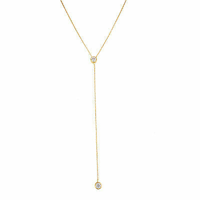 18K Gold Sterling Silver Round Cubic Zirconia Y Necklace