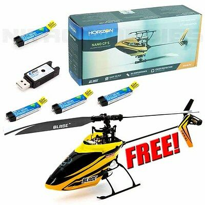 Blade BLH2480 Nano CP S / CPS BNF Helicopter 3D CCPM w/ Free 3x E-flite Battery