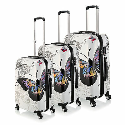 20 24 28 inch White Butterfly PC Spinner Luggage Travel Rolling Trolley Suitcase