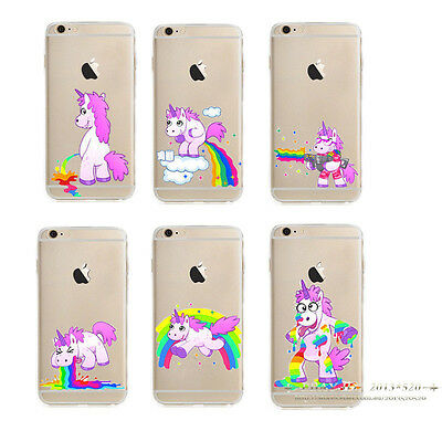 Clear Unicorn Pattern Soft TPU Silicone Back Case Cover for iPhone 5 6 6s 7 Plus
