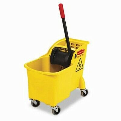 Rubbermaid 7380 Tandem 31 Qt Bucket and Wringer Combo, Yellow (RCP 7380 YEL)