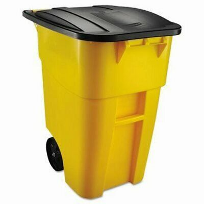 Rubbermaid 9W27 Brute 50 Gallon Rollout Trash Can w/Lid, Yellow (RCP 9W27 YEL)