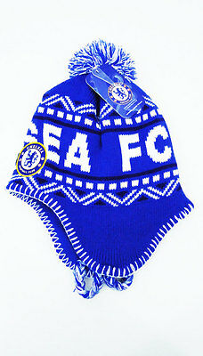 e9e39f25043 Chelsea FC Soccer POM BEANIE Snow Cap Sports Hat With Tassels Blue New