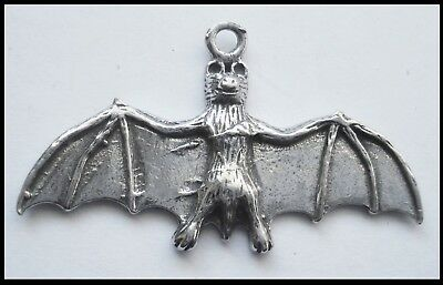 PEWTER CHARM #1061 FLYING BAT (41mm x 24mm) 1 bail WINGS OUT