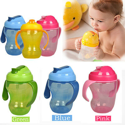 260ml Baby Cup Infant Learn Drinking Handle Straw Bottle Sippy Cup BPA Free Hot