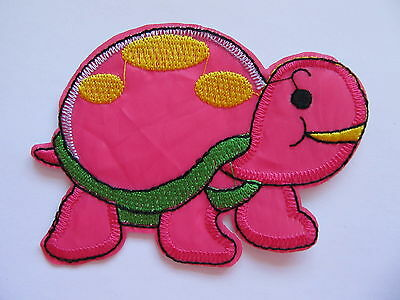 Pink and Green Turtle Iron on Applique Patch