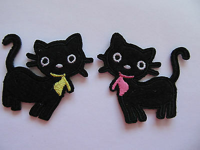 Black Cat with Scarf Small Iron on Applique Patch