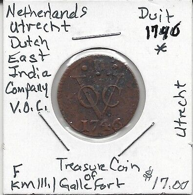 Treasure Coin of The Galle Fort KM111 Dutch Duit 1746 Fine