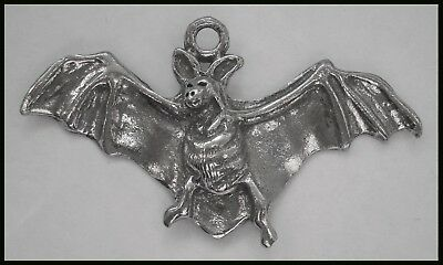 PEWTER CHARM #1095 FLYING BAT (55mm x 31mm) 1 bail WINGS OUT