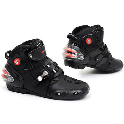 Neuf Noir Moto Bottes Scooter Offroad Racing Sports Armour Bottes Cuir EU 40-45