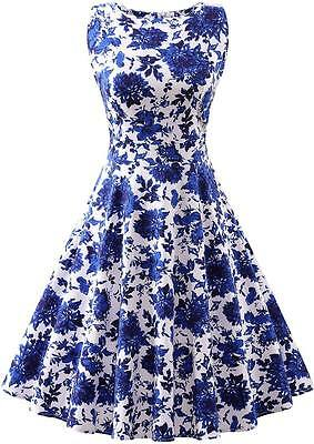 Women's Vintage Floral Print 1950's 60's Rockabilly Swing Party Classic Dress