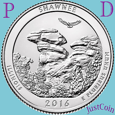 2016 P&d Set Shawnee National Forest (Il) Two Quarters Set Uncirculated