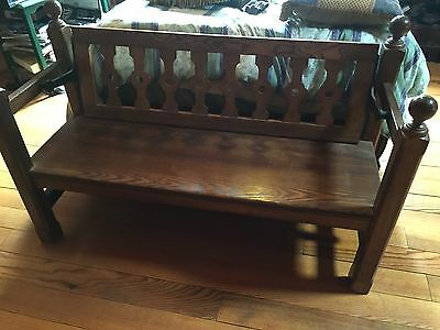 Antique Oak Church Bench Pew with reversible back