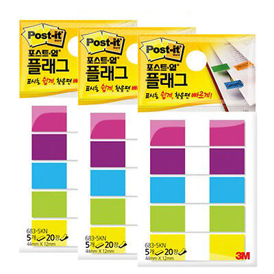 3M Post-it Flag 683-5KN 12mm*44mm 3packs 300Sheets bookmark point Sticky Note