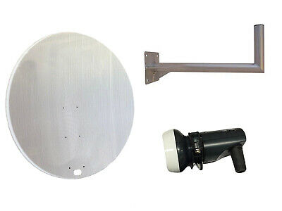 Universal 120CM Mesh Satellite Dish With Wall Mount & Single LNB For Freeview