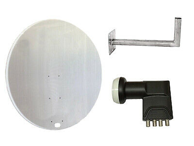 Universal 120CM Mesh Satellite Dish With Wall Mount & Quad LNB For Freeview