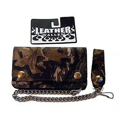 Biker Wallet camoflage,Leather bike wallet with chain and coin compartment
