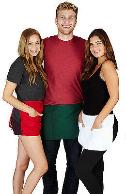2 Pack Half Size Waist Apron Bistro Pocket Bar Cafe Pub 3 Pockets Waiter Apron