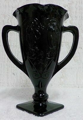 """Dancing Nymphs Black Vase 7 1/4"""" 2 Handled Fluted Loving Cup Fairys Smith Glass"""
