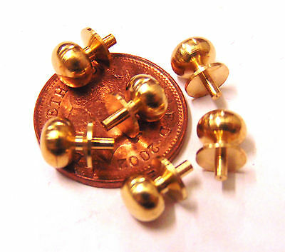 6 Brass Door Knobs - Handles Dolls House Miniature 1:12 Scale Accessories