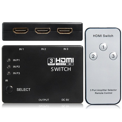 3 Port 1080P Video HDMI Switcher Splitter HUB with Remote For HDTV PS3 PS4 DVD