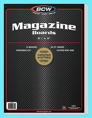 "25 BCW MAGAZINE SIZE 8.5"" x 11"" BACKING BOARDS Storage White Backer 24pt 8-1/2"""