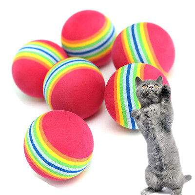 6pcs Colorful Pet Cat Kitten Soft Foam Rainbow Play Balls Funny Activity Toys