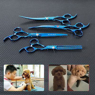 4* Professional Hair Cutting Scissors PET DOG Grooming set Curved Tool Shears 7""