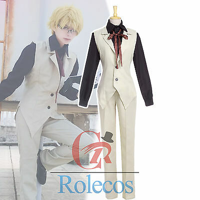 Bungou Stray Dogs Doppo Kunikida Cosplay Costume Shirt+Vest+Pants Full Set