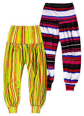Girls Striped Harem Pants New Kids Dance Troupe Ali Baba Trousers Age 7-13 Years