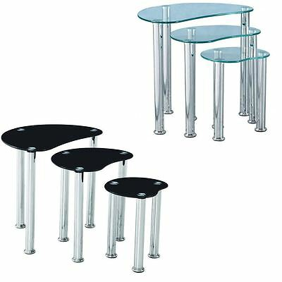 Cara Nest Of 3 Tables Clear Black Glass Modern Furniture New By Home Discount