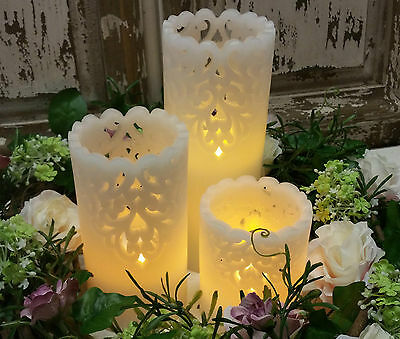 WAX Battery Pillar Candle Lace French Chic Antique Style LED Vintage Wedding