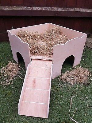 """(New Corner Design)Two Storey Guinea Pig Castle Shelter. (Two Ramps) 16""""x16""""x10"""""""