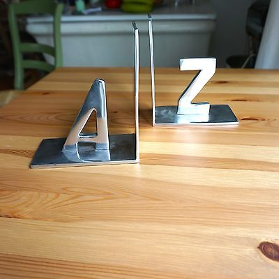 Aluminum Alphabet Classroom School Home Book Ends Case 6 x 7 - A & Z