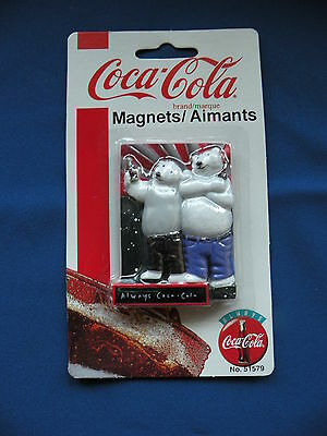 Coca-Cola Magnet square 2 bears holding coke bottles No. 5157 in orginal package