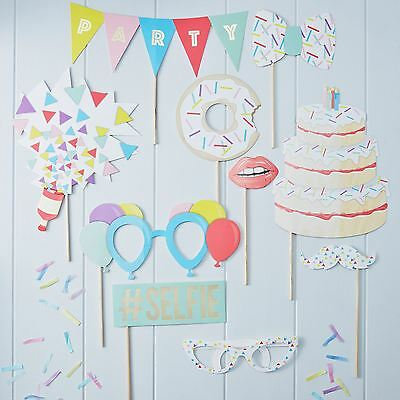 Ginger Ray Birthday Party Photo Booth 10 Props Selfie Picture Kit Stick Set Fun