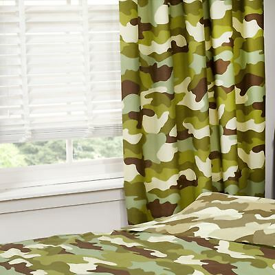 "CAMOUFLAGE 66"" x 72"" LINED CURTAINS NEW ARMY MILITARY BEDROOM"