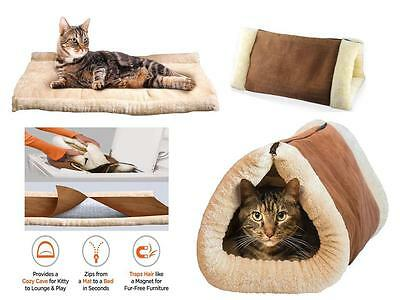 2In1 Self Heating Pet Tunnel Bed Kitty Mat Cat Small Dog Portable Shack Hot Cosy
