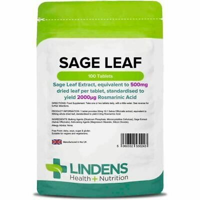 Sage Leaf 500mg hot flushes flashes & sweats in menopause 100 Tablets Lindens