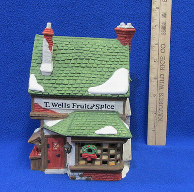 T Wells Fruit Spice Shop Department 56 Heritage Dickens Christmas Village House